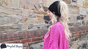 black ponytail beanie