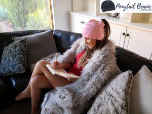 ponytail beanie pink
