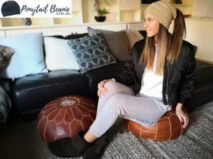 beige ponytail beanie